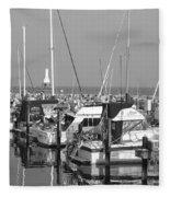 Boats And Reflections B-w Fleece Blanket