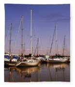 Boats And Reflections Fleece Blanket