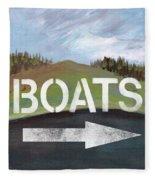 Boats- Art By Linda Woods Fleece Blanket