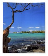 Boats At Anaehoomalu Bay Fleece Blanket