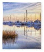 Boats At Calm Fleece Blanket