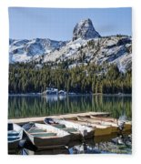 Boats At Dock Fleece Blanket