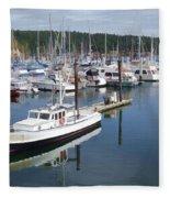 Boats At Friday Harbor Fleece Blanket
