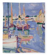 Boats At Royan Fleece Blanket