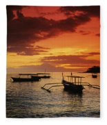Boats At Senggigi Fleece Blanket