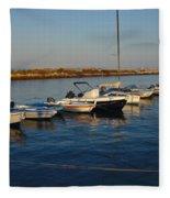 Boats At Sunset In Fuzeta Fleece Blanket