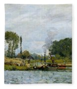 Boats At The Lock At Bougival Fleece Blanket