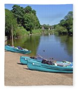 Boats At The Ready Fleece Blanket