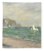 Boats Below The Cliffs At Pourville Fleece Blanket