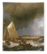 Boats In A Storm  Fleece Blanket