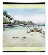 Boats In Beach Fleece Blanket