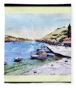 Boats In Spain Fleece Blanket