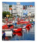 Boats In The Harbor - La Coruna Fleece Blanket