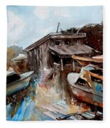 Boats In The Slough Fleece Blanket
