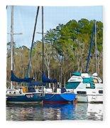 Boats In The Water Fleece Blanket