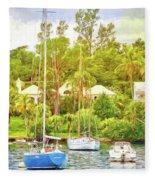 Boats In Waiting Fleece Blanket