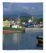 Boats Moored At A Harbor, Dingle Fleece Blanket