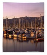 Boats Moored At A Harbor, Stearns Pier Fleece Blanket