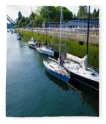 Boats Moving Into Chittenden Locks Seattle Fleece Blanket