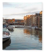 Boats Of Amsterdam Fleece Blanket