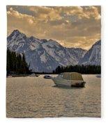 Boats On Jackson Lake At Sunset Fleece Blanket