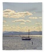 Boats On Lake Champlain Vermont Fleece Blanket