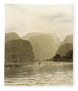 Boats On The River Tam Coc No2 Fleece Blanket