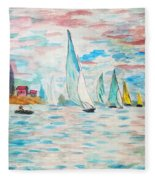 Boats On Water Monet  Fleece Blanket