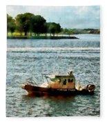 Boats - Police Boat Norfolk Va Fleece Blanket
