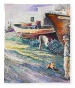 Boats Yard In Villajoyosa Spain Fleece Blanket