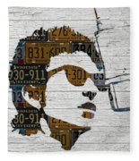 Bob Dylan Minnesota Native Recycled Vintage License Plate Portrait On White Wood Fleece Blanket