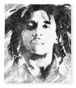 Bob Marley Bw Portrait Fleece Blanket