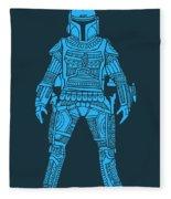 Boba Fett - Star Wars Art, Blue Fleece Blanket