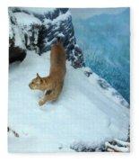 Bobcat On A Mountain Ledge Fleece Blanket