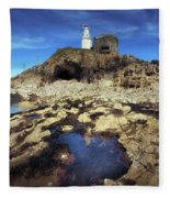 Bob's Cave At Mumbles Lighthouse Fleece Blanket