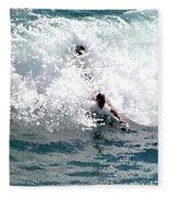 Body Surfing The Ocean Waves Fleece Blanket