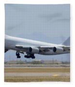 Boeing 747-8kzf N6009f Mesa Gateway Airport June 10 2011 Fleece Blanket