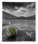 Bog Cotton On Blue Lough Fleece Blanket