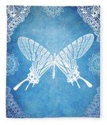 Bohemian Ornamental Butterfly Deep Blue Ombre Illustratration Fleece Blanket