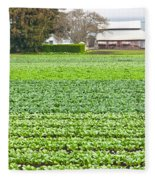 Bok Choy Field And Farm Fleece Blanket