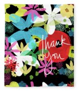 Bold Floral Thank You Card- Design By Linda Woods Fleece Blanket