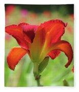 Bold Red - Daylily Fleece Blanket