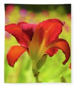 Bold Red Gold - Daylily Fleece Blanket