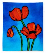 Bold Red Poppies - Colorful Flowers Art Fleece Blanket