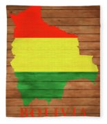 Bolivia Rustic Map On Wood Fleece Blanket