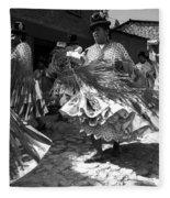 Bolivian Dance Black And White Fleece Blanket