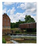 Bollinger Mill And Covered Bridge Fleece Blanket