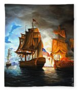 Bonhomme Richard Engaging The Serapis In Battle Fleece Blanket
