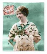 Bonne Annee Vintage Woman Fleece Blanket