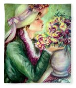 Bonnet Of Flowers Fleece Blanket